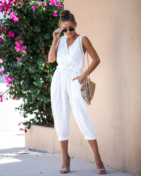 Road Less Traveled Pocketed Jumpsuit - Off White - FINAL SALE