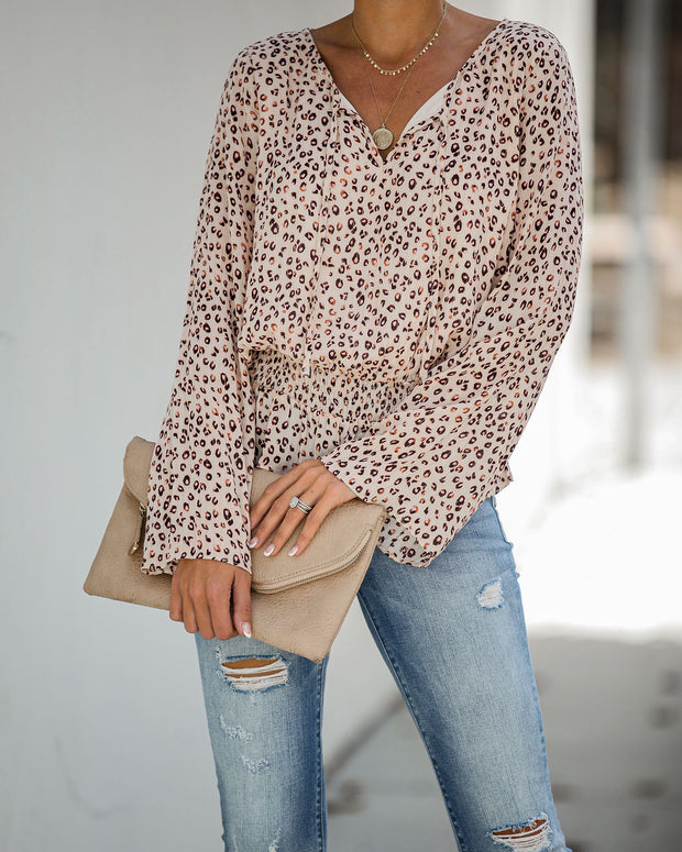 Mamacita Smocked Shimmer Leopard Blouse - FINAL SALE
