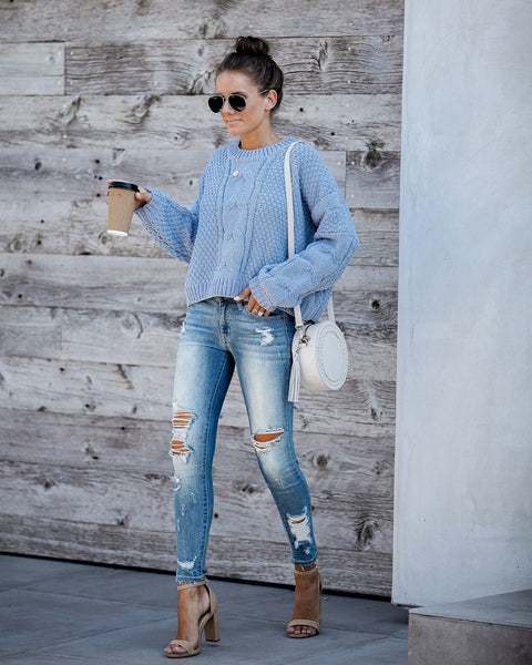 Love Fall Most Of All Cable Knit Sweater - Blue