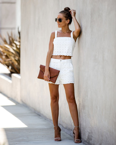 Meet Your Match Textured Crop Top - Off White - FINAL SALE