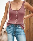 New England Button Down Knit Tank - Wine
