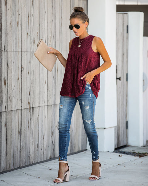 Moon Dance Lace Tank - Burgundy