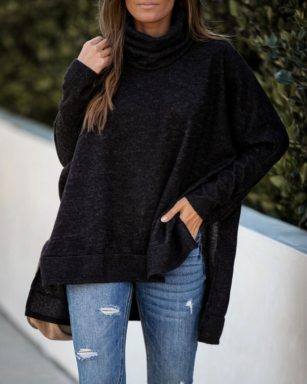 Silent Snowfall Cowl Neck Sweater - Charcoal
