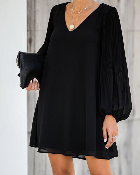 Brunello Pleated Balloon Sleeve Shift Dress