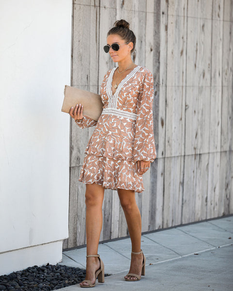 Ludicrous Printed Crochet Ruffle Dress