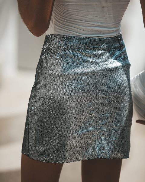Gleaming Sequined Skirt - Silver - FINAL SALE