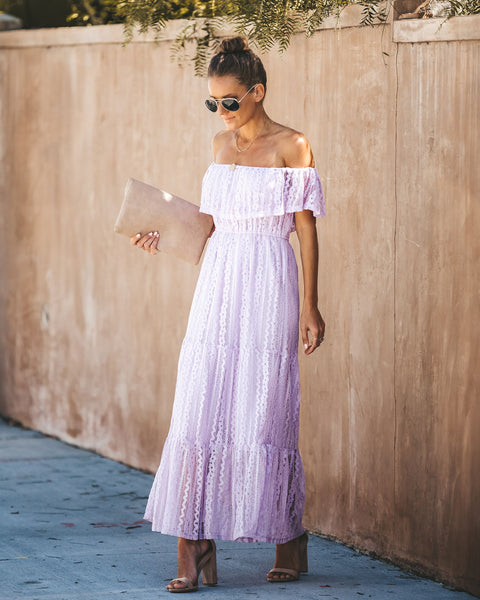 French Lavender Lace Off The Shoulder Maxi Dress