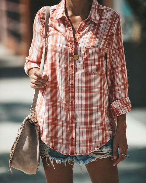 With You Plaid Button Down Top