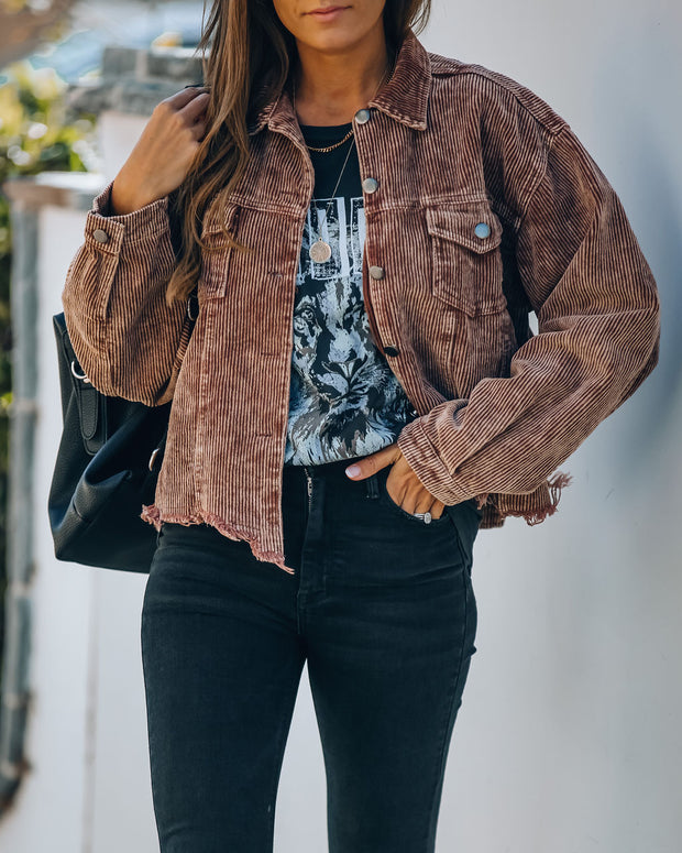 Paddington Distressed Cotton Corduroy Jacket - Mocha