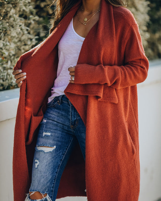 Fireside Pocketed Knit Cardigan - Brick