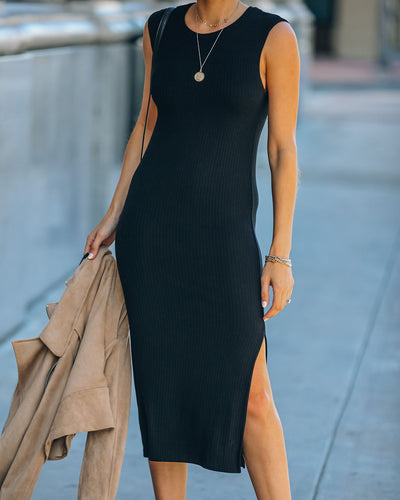 Sheldon Cotton Blend Sleeveless Ribbed Midi Dress - Black