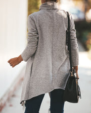 Keep Up Pocketed Drape Coatigan - Heather Grey