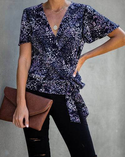 Marlowe Printed Wrap Blouse