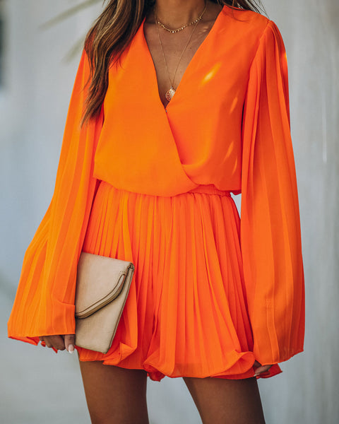 Naples Pleated Surplice Romper - Orange