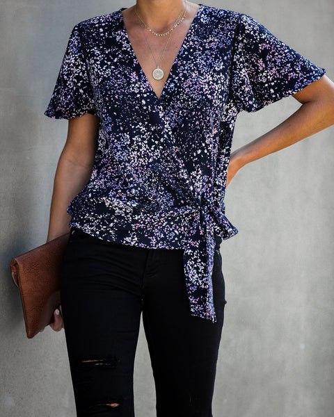 Marlowe Printed Wrap Blouse - FINAL SALE