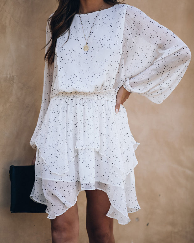 Gemini Chiffon Smocked Ruffle Dress