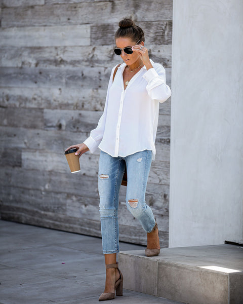 Value Of Values Button Down Blouse - Off White