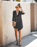 Smooth As Silk Double Breasted Blazer Dress - Black