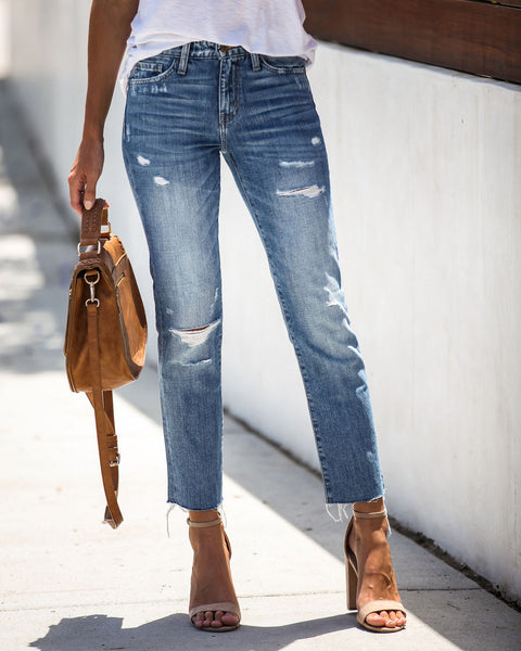 Maggie High Rise Distressed Denim