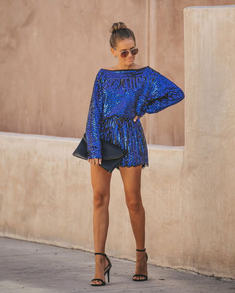Sapphire Sequin Long Sleeve Romper - FINAL SALE