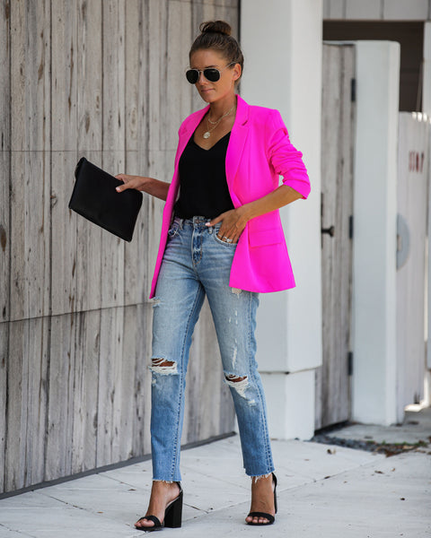 Ceo Pocketed Blazer - Neon Pink
