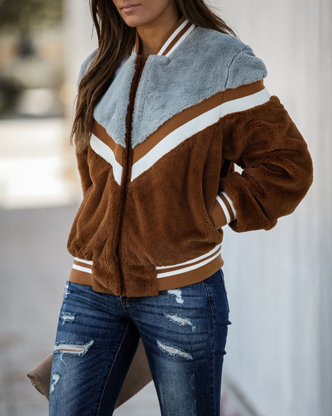 Davin Pocketed Plush Varsity Jacket - FINAL SALE