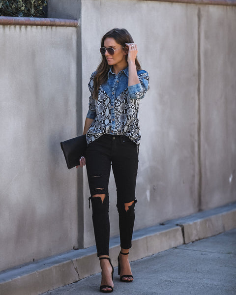 Ace In The Hole Contrast Snake Print Denim Top - FINAL SALE