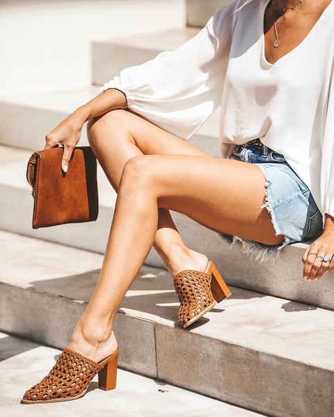 Elevate Open Weave Heeled Mule - Tan