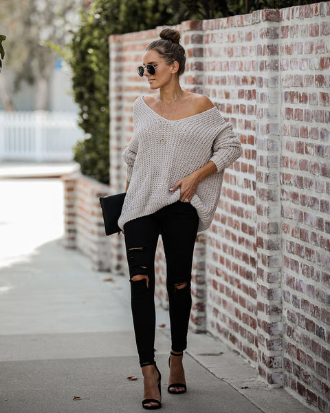 Pinky Promise Cotton Blend Knit Sweater - Nude