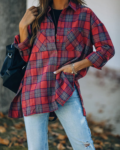 Kayson Cotton Blend Plaid Button Down Top