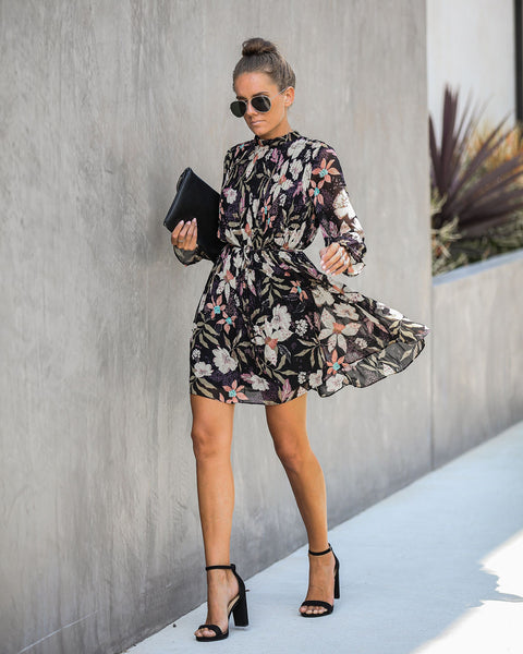 All At Once Floral Pleated Dress - Black