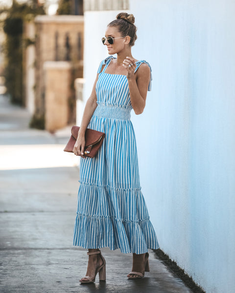 Clear Sailing Smocked Cotton Striped Maxi Dress