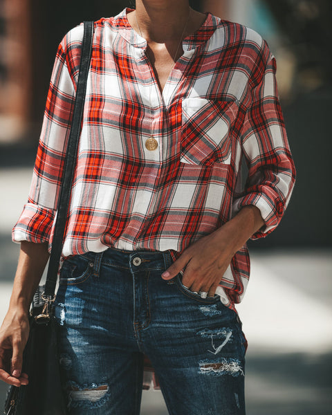 Apple Picking Button Down Plaid Top