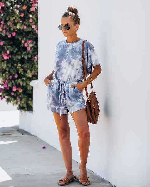 Fara Pocketed Tie Dye Knit Romper
