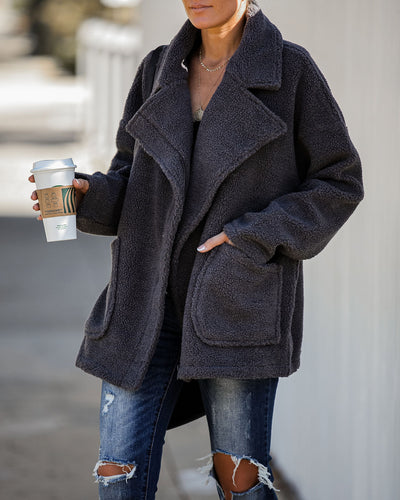 City Scene Pocketed Teddy Coat - Charcoal