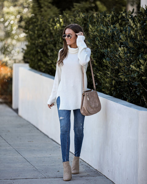 Follow The Moon Ribbed Turtleneck Sweater - Ivory  - FINAL SALE