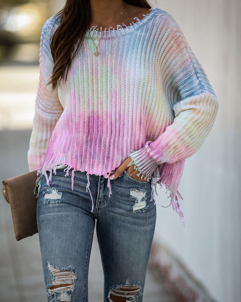 Tate Cotton Tie Dye Distressed Sweater - FINAL SALE