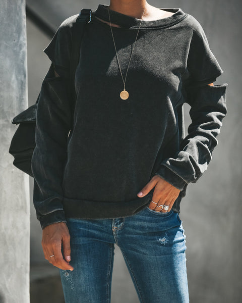 Keaton Distressed Mineral Washed Cotton Sweatshirt