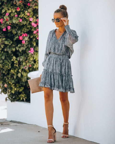 Saint Helena Printed Smocked Dress - Grey