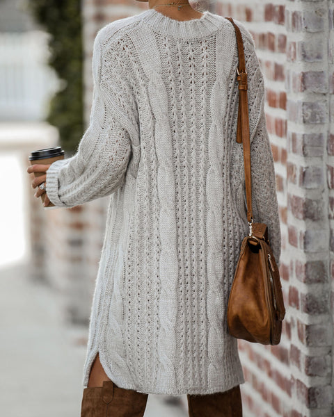 Prancer Cable Knit Sweater Dress - Taupe - FINAL SALE