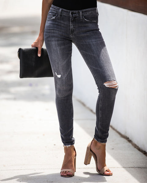 No Time But Now Mid Rise Distressed Skinny - FINAL SALE