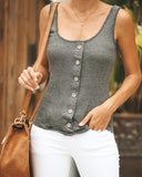 New England Button Down Knit Tank - Charcoal