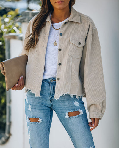 Paddington Distressed Cotton Corduroy Jacket - Beige