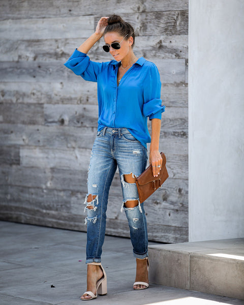Value Of Values Button Down Blouse - French Blue - FINAL SALE