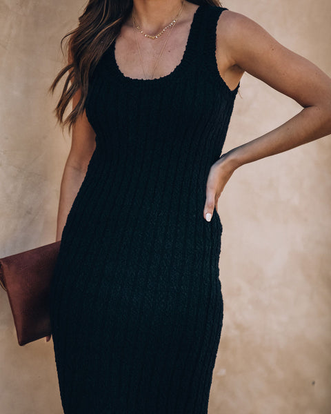 Desert Moon Cotton Ribbed Midi Dress - Black