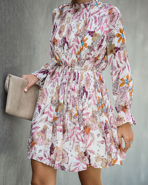 All At Once Floral Pleated Dress - Ivory