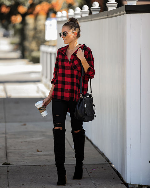 Salem Cotton Plaid Button Down Top