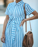 Harlow Striped Tie Front Shirt Dress