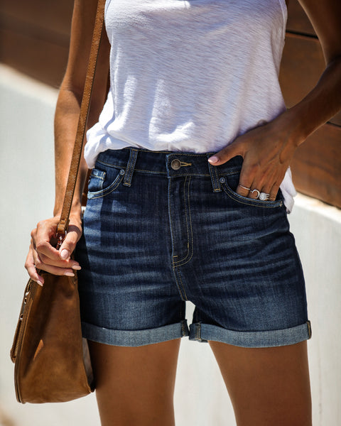 24/7 High Rise Cuffed Denim Shorts - FINAL SALE