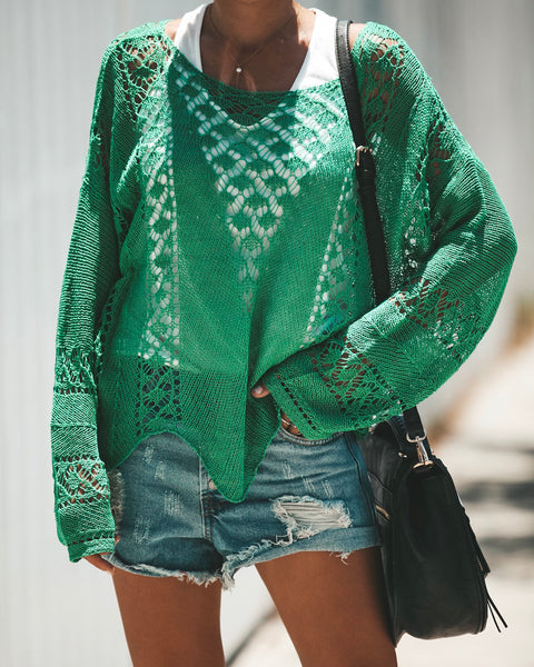 Knit Over You Sweater - Kelly Green - FINAL SALE